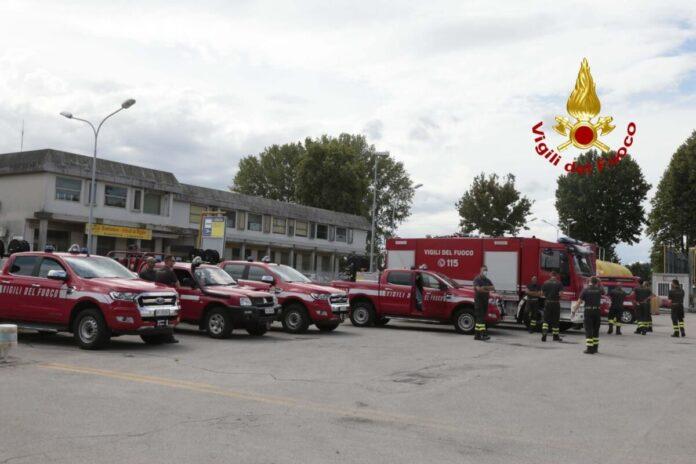 La squadra dei Vigili del fuoco del Veneto partita questa mattina per L'Aquila
