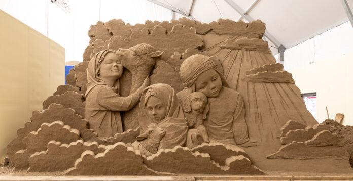 Una scultura di sabbia realizzata in occasione dell'edizione 2019 di Jesolo Sand Nativity