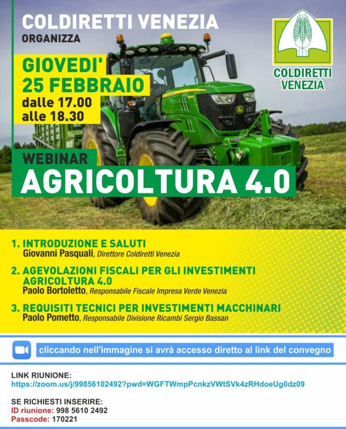 La locandina del webinar sull'Agricoltura 4.0 di Coldiretti Venezia