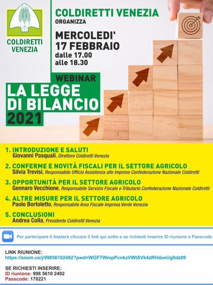 La locandina dell'evento webinar di Coldiretti Venezia