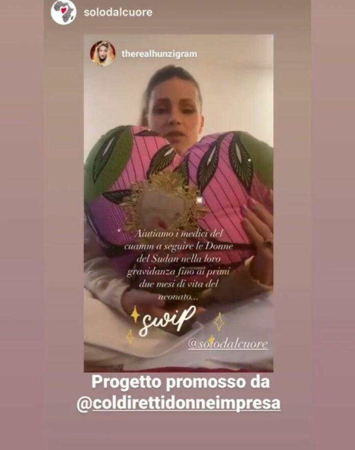 Il post di Michelle Hunziker con un cuscino a forma di cuore a sostegno del progetto di Coldiretti Venezia per CUAMM