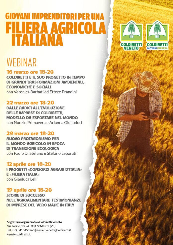 La locandina dei 5 webinar di Coldiretti Veneto