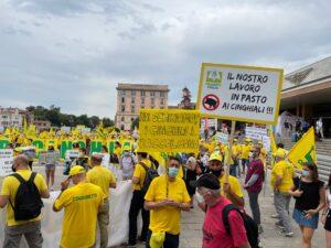 Il flash mob #stopcinghiali di Coldiretti Veneto