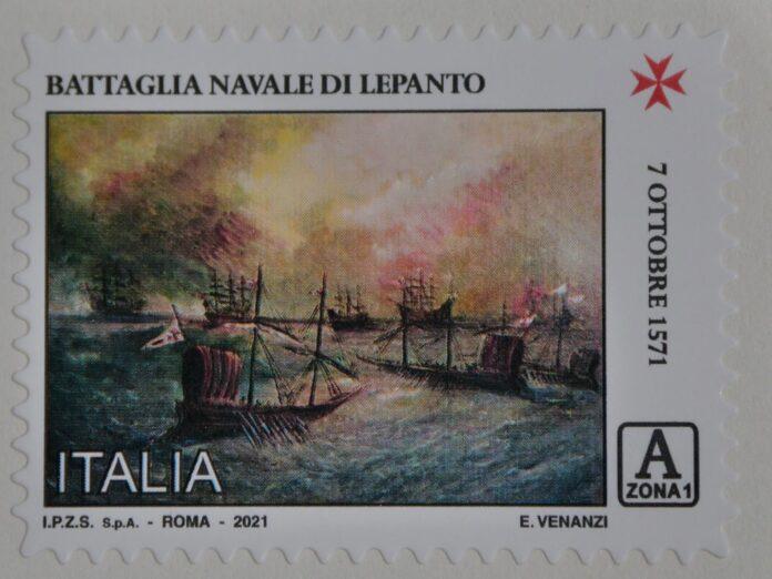 Il francobollo raffigurante la Battaglia di Lepanto